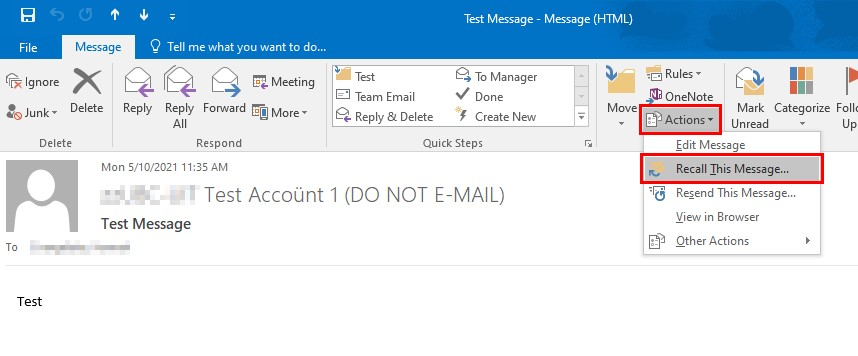 Can you recall an email in outlook