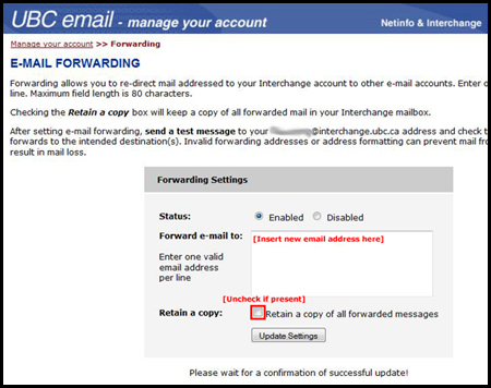 Interchange Email Forwarding