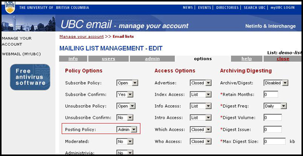 Interchange Mailing List Options Page